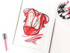 Red heel print Red heels wall art Red by DorinusIllustrations