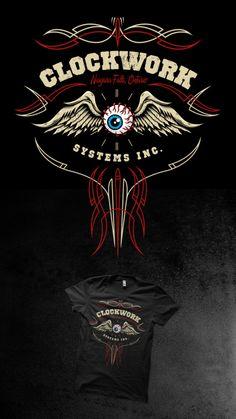 Clockwork Systems Tshirt Design on Behance Dutch Tattoo, Pinstripe Art, Garage Art, Pinstriping, Logo Design, Design Design, Graphic Design, Toronto, Cool Art