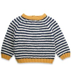 Baby sweater knitted in France with cotton, alpaca wool and cashmere Knitting Patterns Boys, Baby Sweater Patterns, Baby Sweater Knitting Pattern, Knit Baby Sweaters, Tunic Pattern, Boys Sweaters, Knitting For Kids, Baby Patterns, Crochet For Boys