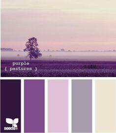 Purple Pastures by Design Seeds.the perfect wedding colors! Colour Pallette, Colour Schemes, Color Combos, Purple Palette, Purple Grey, Shades Of Purple, Purple Rain, Lilac, Design Seeds