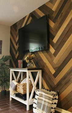 How to Install a DIY Herringbone Barn Wood Wall - Wood Working Wood Panel Walls, Plank Walls, Herringbone Wall, Diy Wood Wall, Accent Wall Bedroom, Cottage Interiors, Diy Pallet Projects, Home Office Furniture, Barn Wood