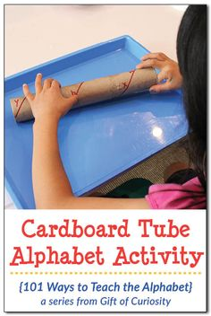 Super simple cardboard tube alphabet activity for teaching letter sounds or letter names. I love how this activity is low-prep but still enticing because it gives kids an object to manipulate. || Gift of Curiosity