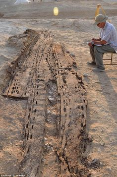 6m Egyptian solar boat, approximately 5,000 years old, found in 2012 at Abu Rawash in Egypt.