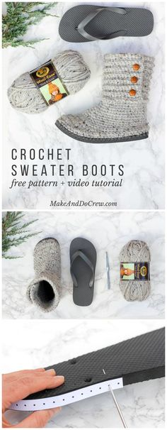 Crochet Boots With Flip Flops – Free Crochet Pattern - 22 Crochet Slippers / Boot / Shoes / Flip Flops - Free Patterns - DIY & Crafts