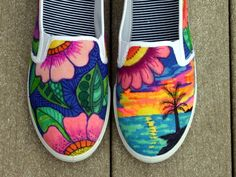 Mano pintada zapatos zapatillas tropical arte por ArtworksEclectic