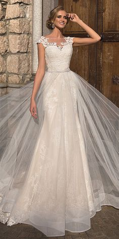 Amazing Tulle & Organza Bateau Neckline A-line Wedding Dress With Beadings & Lace Appliques