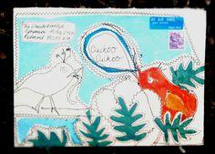 cuckoo bird mail art envelope