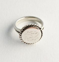 Make your Valentines Day gift #personal with a #Personalized Sterling Silver Ring! $40  Nautical Rope Sterling Silver Monogram Ring We love the Nautical Style. This #monogrammed sterling silver ring makes is fun and made to last.Buy one for yourself or a fri... #gifts #forher #personalized #jewerly #present #ring #rings #signet ➡️ http://jto.li/mvrv9