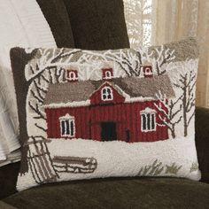 Snowy Barn Hooked Wool Pillow   Sturbridge Yankee Workshop
