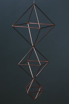 Descending Diamonds Modern Minimalist by SpazzHappyLineDesign Diy Home Crafts, Diy Arts And Crafts, Diy Home Decor, Geometric Sculpture, 3d Craft, Geometric Decor, Copper Tubing, Hanging Ornaments, Plant Holders