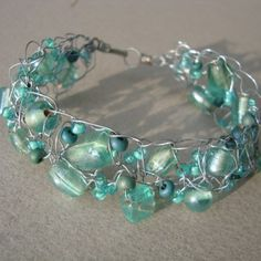 beaded wire knit cuff