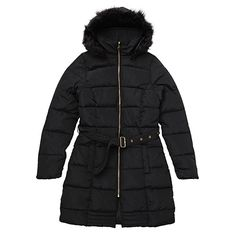 Brave Soul Womens/Ladies Dunn Padded Puffa Jacket With Faux Fur Collar (10 US) (Black)
