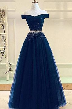 A Line Off the Shoulder Tulle Dark Blue Beads Prom Dresses Long Cheap Evening Dress