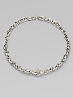 David Yurman Diamond Accented Large Oval Sterling Silver Link Necklace