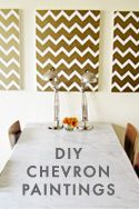 DIY: gold chevron paintings - another backdrop idea. Would replace white with pale pink...