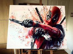 Yup 😎🔫🇺🇸🔫😎 Deadpool Painting, Marvel Art, Marvel Comics, Deadpool Dessin, Deadpool Art, Deadpool Love, Marvel Drawings, Deadpool Drawings, Dead Pool