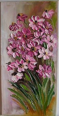 Pink Daisies Impressionism IMPASTO Original Oil Painting Flowers Europe Artist | Art, Direct from the Artist, Paintings | eBay!
