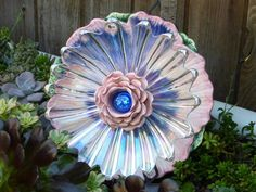 Plate Flower #510  Drought Resistant.       Garden Yard Art glass and ceramic plate flower