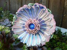 Plate Flower #510  Drought Resistant.       Garden Yard Art glass and ceramic plate flower