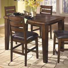 Larchmont Square Rectangular Counter Height Dining Room Set Table Sets Bedroom Furniture Curio Cabinets And Solid Wood