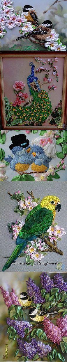 Вышитые лентами картины. Вышивка лентами цветы птицы | Все о рукоделии: схемы…
