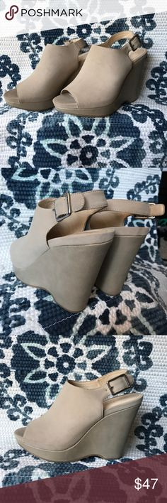 NWOT CALVIN KLEIN WEDGES NWOT • WOMENS SIZE 9.5 • CALVIN KLEIN NADUNA PEEP TOE SLINGBACK WEDGE • ONLY WORN AROUND MY HOUSE • GREAT QUALITY + CONDITION • HEEL STRAP ADJUSTMENTS • NOT IN STORES OR ONLINE Calvin Klein Shoes Wedges