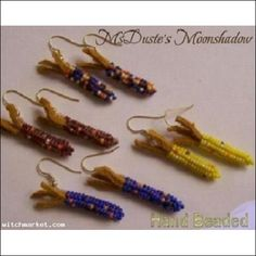 Corn Beaded Earrings Czech Seed Bead Gold Plated Ear Wires Hand Beaded   $10.99  for one.