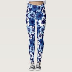 7d25aa9688b188 Epic Hibiscus Hawaiian Tropical Floral Leggings Navy, White and Sky Blue  Colorway. These oversized