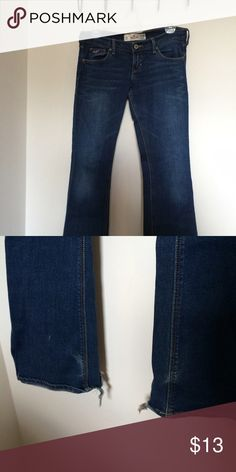Dark wash Hollister jeans Great condition! Has small tears at the bottom as shown in picture. Same day shipping! Bundle discounts vary between items so just ask and we can make a deal Hollister Jeans