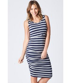 76456203c6fc7 Essential Stretch maternity and Nursing Singlet dress in Grey Marle and ink  perfect for pregnancy and