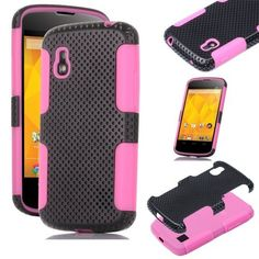 Pandamimi ULAK(TM) Perforated Hybrid Hard And Silicone Rubber Gel Case Cover For GOOGLE NEXUS 4 (Black and Hot pink) by ULAK, http://www.amazon.com/dp/B00C0M7CCK/ref=cm_sw_r_pi_dp_9bxurb0BXZWVM