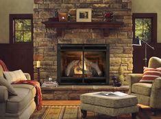 The Heat-N-Glo 8000 CLX Direct Vent Gas Fireplace Has It All From Ceramic Glass, Multifunction Remote, Accent Lighting and Large Viewing Area.