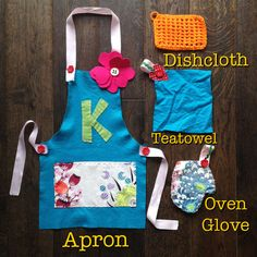 DIY Queen Kwak play kitchen fabric cleaning supplies. hand made apron, dishcloth, tea towel, oven glove toys. accompanies DIY play kitchen.