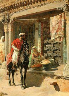 Street Vendor, Ahmedabad, 1885  Painting by Edwin Lord Weeks,  American, 1849 - 1903