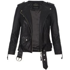AllSaints Cropped Riley Biker Jacket ($306) ❤ liked on Polyvore featuring outerwear, jackets, leather jackets, tops, coats, black, genuine leather jacket, real leather jackets, cropped jackets and cropped moto jacket