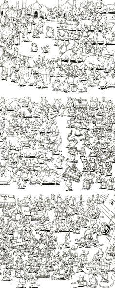 Work process for cover art by Swedish illustrator Mattias Adolfsson for Dance Gavin Dance's Instant Gratification