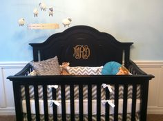 monogram on crib with Grey Chevron bedding