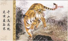 1pcs China Meticulous Tiger Painting Calligraphy Postcard Tiger Roaring #10