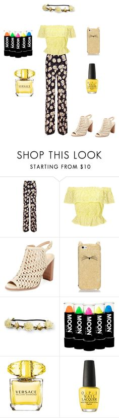"""Secret Garden of Yellow"" by kaydance2088 ❤ liked on Polyvore featuring Rochas, Miss Selfridge, Renvy, Kate Spade, Aéropostale, Versace and OPI"