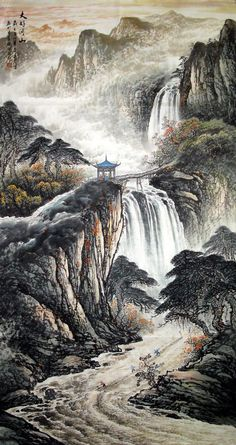 Chinese Painting: Mountains, waterfall - Chinese Painting CNAG221550 - Artisoo.com
