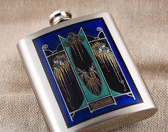 Art Deco Flask Blue Moderne Indigo Blue by DecorativeDesignWKS, $18.00