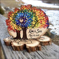 Rainbow Trees Spiral Tie Dye Wedding Cake Topper Live Edge