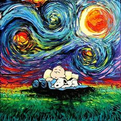 Charlie Brown and Snoopy sleeping under starry night palette knife painting. Peanuts Cartoon, Peanuts Snoopy, Arte Van Gogh, Snoopy Quotes, Charlie Brown And Snoopy, Meu Amigo Charlie Brown, Bd Comics, Snoopy And Woodstock, Vincent Van Gogh