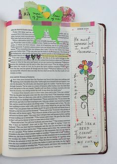 """Day One, """"Bloom"""" devotional by Stephanie Ackerman. When she emphasized how important it is to empty ourselves of our own plans, and surrender to God's plans, I thought of the scripture """"He must increase, but I must decrease."""" I ended my journaling with her quote, """"Just like a seed I cannot bloom on my own."""" #illustratedfaith"""
