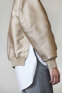 radical gold bomber + shirt tails