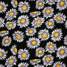 """Purple Gray Hand Painted Daisy on Black Cotton Jersey Blend Knit Fabric - Pretty hand painted look daisy design in a lovely purple gray and white on a black background color cotton jersey rayon blend knit. Fabric has a soft hand, nice stretch and drape, and is light weight. Biggest daisy measures 1 1/2"""" for scale. :: $6.25"""