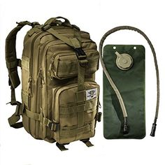 Tactical Assault Military Army Style Backpack By Monkey Paks with Hydration Water Bladder Included * Acu Camo * Black * Tan * Water Resistant Rucksack * Molle Compatatible * Great for Bug Out Bag or Daypack * 600 D Nylon Multiple Zippered Pockets to Keep All Your Stuff Organized, http://www.amazon.com/dp/B00R3NCBW2/ref=cm_sw_r_pi_awdm_xZBovb0T4MMYE