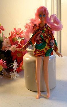 Teenage Fashion FLATSY CORY Doll 1969 - Original Outfit Pink Hair