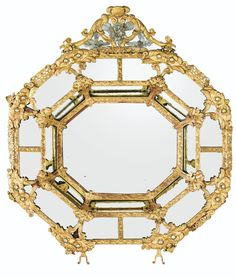 PROPERTY OF A EUROPEAN PRIVATE COLLECTOR An Italian gilt-metal and cut-glass-mounted mirror, Venetian  mid 17th century SOLD. 109,250 GBP