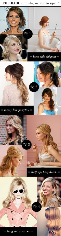 bridesmaid hair ideas: chignon, pony, half-up, retro down
